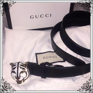 a0e14c494ff Gucci belt with feline head